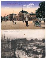 2 CPA : NEUSTADT An Der Haardt ( Weinstrasse ) Bahnhofplatz , Place De La Gare Et Théâtre, Vue Générale (Intérieur Gare) - Neustadt (Weinstr.)