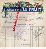 75- PARIS- FACTURE ETABLISSEMENTS LE FRUIT CONSERVE PAR LE SUCRE-SIROP-CONFITURES-29 RUE LOMBARDS-1933 - Petits Métiers