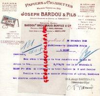 16-ANGOULEME-LETTRE JOSEPH BARDOU FILS-BROUSSAUD-BONFILS -PAPIERS CIGARETTES LE NIL-MARSEILLE-PARIS-PERPIGNAN-1935 TABAC - Petits Métiers