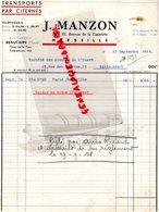 13- MARSEILLE-30- BEAUCAIRE-RARE LETTRE J. MANZON-TRANSPORTS PAR CITERNES- 26 AVENUE CAPELETTE-1938 - Transports