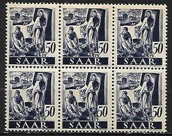 SARRE   -   1947 .  Y&T  N° 210 **  En  BLOC De 6 . - Saargebiet