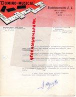 06- NICE- RARE LETTRE ETABLISSEMENTS J.J. JEUX JOUETS-DOMINO MUSICAL- A M. JANVIER ESTAMPEUR PARIS-1959 - Petits Métiers