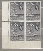 ADEN 1956 Mill 4 X Block Coner MNH (**) Mi 67c, SG 61a #23225 - Aden (1854-1963)