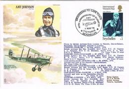 30513. Carta Flown Flight VICTORIA (Seychelles) 1976, AMY JOHSON - Seychelles (1976-...)