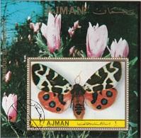 Ajman 1972 Farfalle Famous Butterflies Papillons Sheet Perf. Fiori LILIUM Flowers CTO - Ajman
