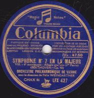 78 Trs - 30 Cm - état TB -  SYMPHONIE N°7 EN LA MAJEUR (BEETHOVEN) ORCH. PHILHARMONIQUE DE VIENNE - 78 T - Disques Pour Gramophone