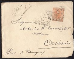 ITALY KINGDOM ITALIA REGNO 1899. FERROVIA PERUGIA ORVINIO LETTERA COVER - Italy