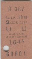 Ticket De Metro 2ème Classe. - Métro