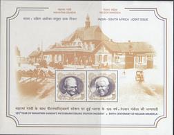 INDIA 2018 INDIA SOUTH AFRICA 2nd Joint Issue, Gandhi, Mandela,, Miniature Sheet, MNH(**) - Neufs