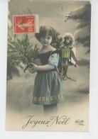 """ENFANTS - LITTLE GIRL - MAEDCHEN - Jolie Carte Fantaisie Portrait Fillette Avec Hotte Poupée """"Joyeux Noël"""" - Noël"""