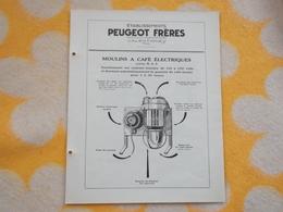 Rare Publicité Moulin à Café électrique PEUGEOT Frères - Publicités