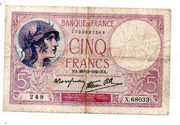BELLISSIME BANCONOTE FRANCIA 5 FRANCHI 26/12/1940 - 1871-1952 Antichi Franchi Circolanti Nel XX Secolo