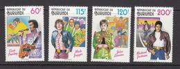 1994 Burundi Music Pop Elvis Jackson Beatles Singers Complete Set Of 4   MNH - Burundi
