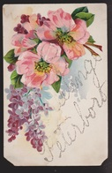 General Greetings - Flowers & Lettering In Glitter - Used - Damaged - Greetings From...