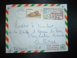 LETTRE TP CAISSE D'EPARGNE 15F + TP LION 10F OBL.MEC.18 X 65 YAOUNDE - Cameroon (1960-...)