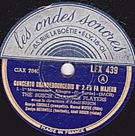 78 Trs - 30 Cm - état B - 2 Disques - CONCERTO BRANDEBOURGEOIS N°2 EN FA MAJEUR - THE BUSCH' CHAMBER PLAYERS - 78 Rpm - Schellackplatten