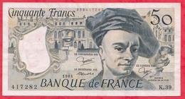"""50 Francs """"Quentin De La Tour"""" 1984 ---VF/SUP ---Série K.39 --AUCUN TROU D EPINGLE - 1962-1997 ''Francs''"""
