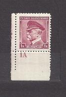 Czechoslovakia 1939 MNH ** Mi 406 (A1 B.u.M.)Sc 256 T.G.Masaryk CESKO - SLOVENSKO. Plate Number 1A. - Ongebruikt