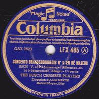 78 Trs - 30 Cm - état TB - CONCERTO BRANDEBOURGEOIS N°5 EN RE MINEUR - THE BUSCH' CHAMBER PLAYERS - 78 T - Disques Pour Gramophone