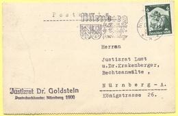 Deutsches Reich - 1935 - 6 Die Saar Kehrt Heim! + Flamme - Postkarte - Justizrat Dr. Goldstein - Viaggiata Da Nürnberg P - Briefe U. Dokumente