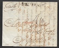 1793 LAC - TRIESTE Vers ST.QUENTIN  - Marque Frontiere D'ALLEMAGNE - Postmark Collection (Covers)