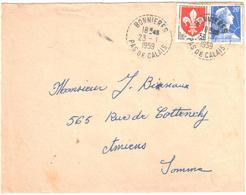 BONNIERES Pas De Calais Lettre 20F Muller 5F Lille Ob 1959 Recette Distribution Cercle Pointillé Lautier B7 Yv 1011 1186 - Postmark Collection (Covers)