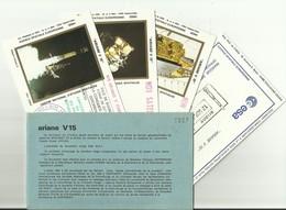 Lancement Fusée ARIANE V15 - 12/09/1985 - Pochette Lancement CNES - 5 Documents - CENTRE SPATIAL GUYANAIS - ESPACE - FDC & Gedenkmarken