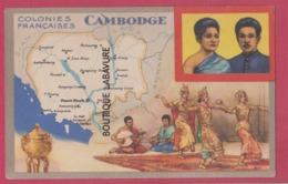 CAMBODGE--INDOCHINE----Colonies Françaises Carte Du Cambodge--historique Au Verso - Cambodia