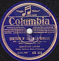 78 Trs - 30 Cm - état TB - QUATUOR N°15 EN LA MINEUR 3e Mouvement (BEETHOVEN) QUATUOR LENER - 78 T - Disques Pour Gramophone