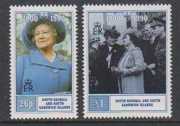 South Georgia 1990 90th. Birthday Queen Mother 2v ** Mnh (41319B) - Zuid-Georgia