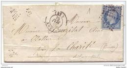 014. LAC N°14 Bleu Lilas Pâle TYPE2 - De NEVERS (NIEVRE) - 1861 - Postmark Collection (Covers)