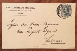 IMOLA AVV. CARMELO BIVONA  CARTOLINA PUBBLICITARIA AUTOGRAFA DEL  9/3/28 - Documenti Storici