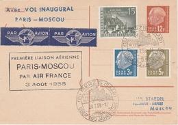Merzig Saar 1958 - Erstflug Paris Moscou Moskau Par Air France 1er Vol - Carte Entier 12 F Ganzsache Stationary - Lettres & Documents