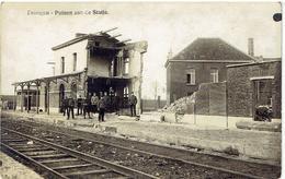 DRONGEN - Gent - Carte Photo - Puinen Aan De Statie - 1914-18 - Noodstempel Tronchiennes 1919 - Gent