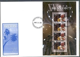 Nevis 2011, Pope Benedict 4val In BF In FDC - Popes