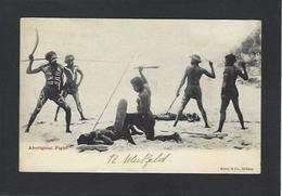 CPA Australie Australia Aborigènes écrite Guerrier Armes - Aborigènes