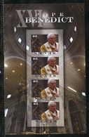 Nevis 2011, Pope Benedict, 4val In BF IMPERFORATED - Popes