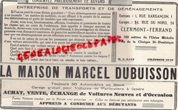 63- CLERMONT FERRAND-RARE BUVARD LA MAISON MARCEL DUBUISSON-TRANSPORTS DEMENAGEMENTS-RUE BARBANCON-24 RUE NORD-MICHELIN - Transport