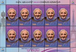 Artsakh - Armenia - Nagorno Karabakh 2018 M/S Charles Aznavour French-Armenian Tenor Singer-lyricis MNH** - Armenia
