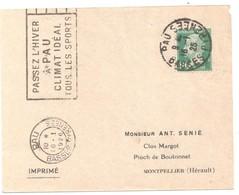 PAU Basses Pyrénées Imprimé 10 C Pasteur Vert Ob Méca Fliers PAU104 1925 Yv 170 - France