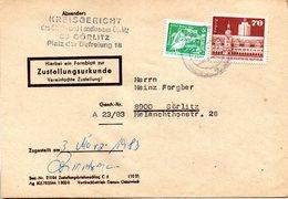 """(FC-9) DDR Dienstpost, Zustellungsurkunde, """"Kreisgericht Görlitz"""" MiF Mi 1881+2483 TSt 3.3.1983 GÖRLITZ 1 - Service"""