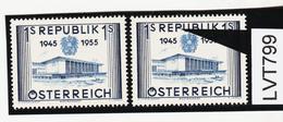 """LVT799 ÖSTERREICH 1955 Michl 1013 PLATTENFEHLER FARBFLECK Im """"P"""" ** Postfrisch - Abarten & Kuriositäten"""
