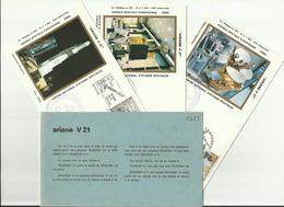 Lancement Fusée ARIANE V21 - 11/03/1988 - Pochette Lancement CNES - 4 Documents - CENTRE SPATIAL GUYANAIS - ESPACE - FDC & Gedenkmarken