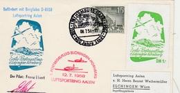 Homburg Saar 1958 400 Jahre Stadt - Segelflug Elchingen Hornberg Mit Vignette - Planeur - Brieven En Documenten