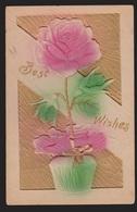 General Greetings - Best Wishes Rose- Used - Embossed - Greetings From...