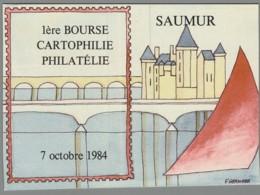 CPM 49 - Saumur - 1ère Bourse Cartophile Philatélie - 1984 - Saumur