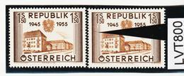 LVT800 ÖSTERREICH 1955 Michl 1015 PLATTENFEHLER FARBSTRICH Und LINIE UNTERBROCHEN ** Postfrisch - Abarten & Kuriositäten
