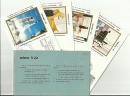 Lancement Fusée ARIANE V22 - 15/06/1988 - Pochette Lancement CNES - 5 Documents - CENTRE SPATIAL GUYANAIS - ESPACE - FDC & Gedenkmarken