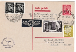 Mettlach 1957 Saar - Carte Entier Ganzsache Stationary - Erstflug Frankfurt Zurich - 1957-59 Federation