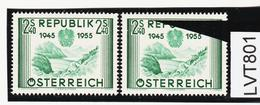 """LVT801 ÖSTERREICH 1955 Michl 1016 PLATTENFEHLER FARBSTRICH über """"R"""" ** Postfrisch - Abarten & Kuriositäten"""